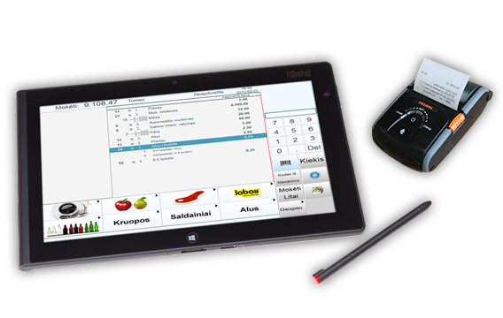 Maxishop2 prekybos sistema su plansetiniu kompiuteriu